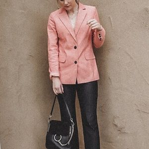 Salmon Pink Corduroy Blazer